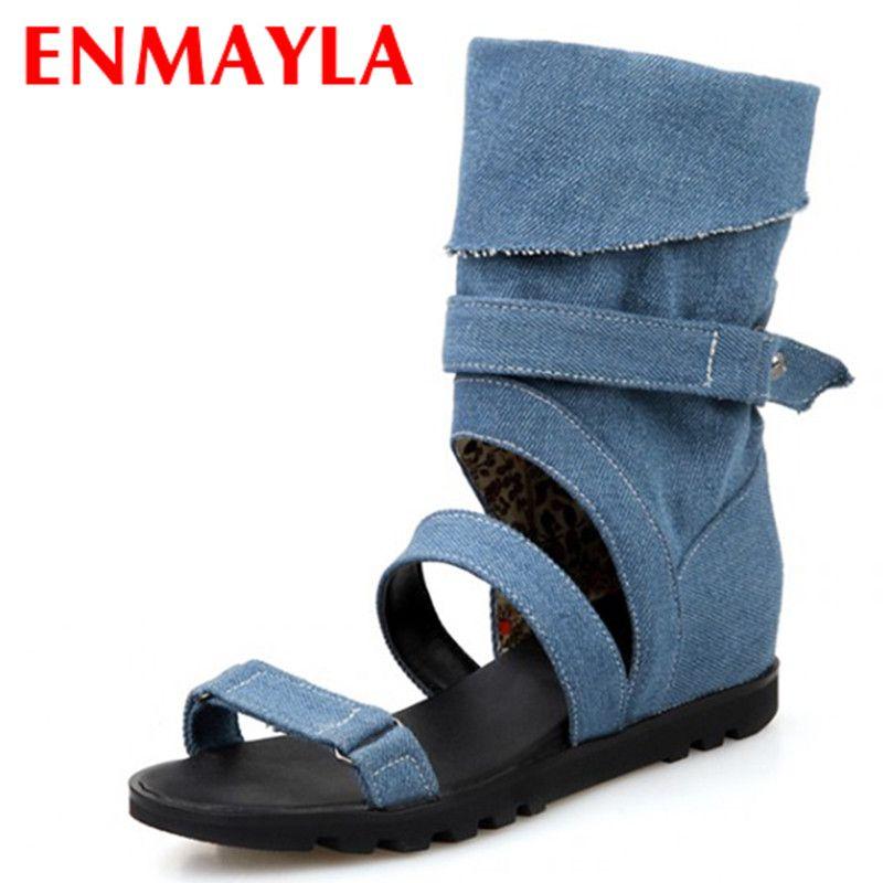 ENMAYLA été bottines femmes gladiateur sandales appartements évider toile chaussures femme Denim fille sandales moto bottes