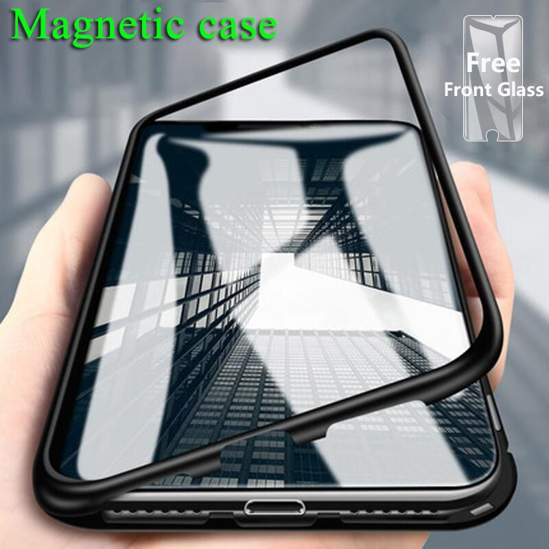 S-GUARD Magnetic flip Phone Case for IPhone X XR 6s 7 8 plus Clear Tempered Glass Magnet Case for IPhone 8 7 XS MAX Metal Cover