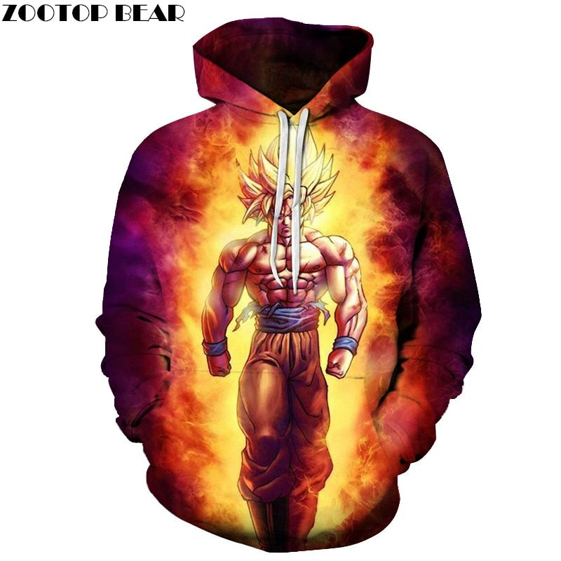 Аниме Толстовки Dragon Ball Z карман толстовки с капюшоном малыш Гоку 3D Толстовки Пуловеры для женщин Для мужчин Для женщин верхняя одежда с длин...