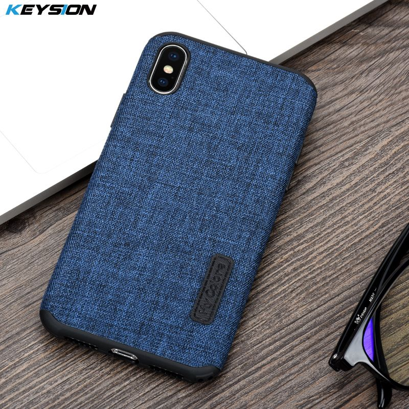 KEYSION Case for iPhone X Fashion Linen Cloth and TPU Silicone soft Anti-knock Cover for iPhoneX for iPhone 10 Lanyard shell