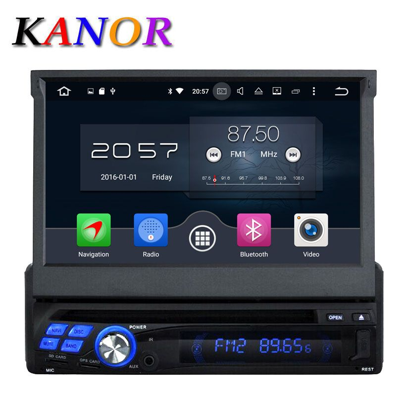 KANOR Android 6.0 Octa Core 2G 7 inch Single One din Car GPS DVD Player Bluetooth Stereo Sat Nav RDS WIFI Multimedia
