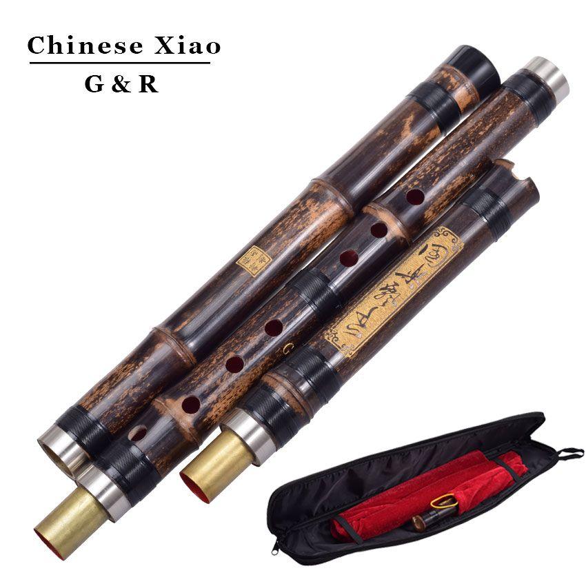 Chinesische Vertikalen Bambus Flöte Xiao 8 Löcher Genau Abgestimmt Chromatische Musik Instrument G/F-taste Dong Xiao Drei Abschnitte Flauta
