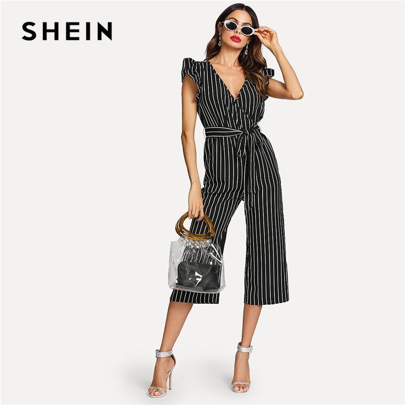 SHEIN <font><b>Black</b></font> and White Elegant Vertical Stripe Ruffle Detail Wrap Deep V Neck Belted Jumpsuit Summer Women Workwear Jumpsuit