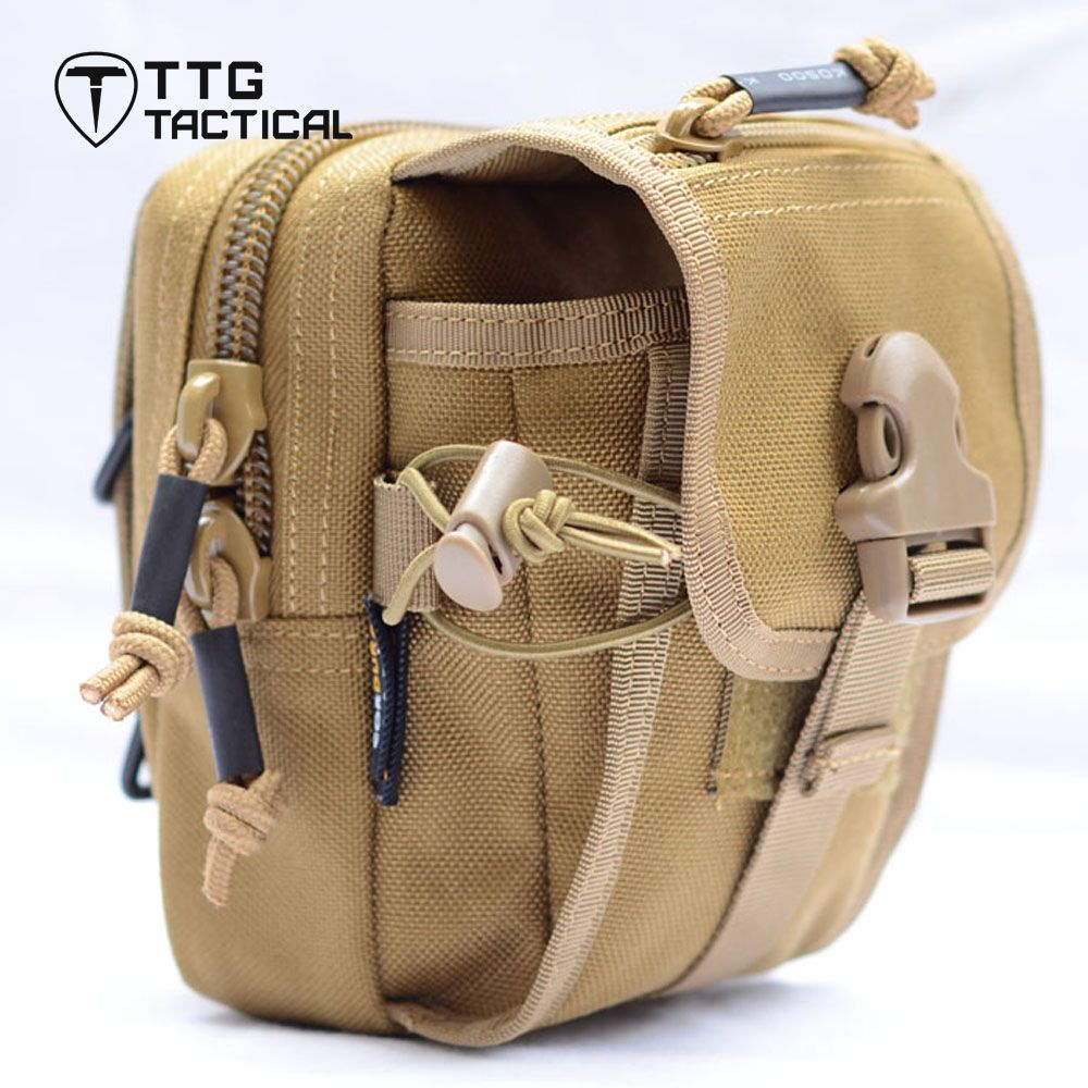 TTGTACTICAL Sports Waist Bags Camping Molle EDC Military Tactical Hiking Waist Packs for 5.5 Phone Black/TAN