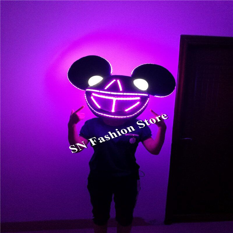 SS3-2 Colorful light ballroom LED dance costumes dj doll toys dicso party lovely Mouse headwear catwalk stage cosplay clothes