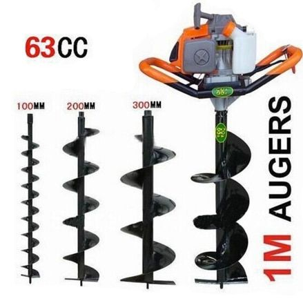 Professional power 63cc 2.5kw gas power post hole digger ground drilling machine earth auger ice auger digging
