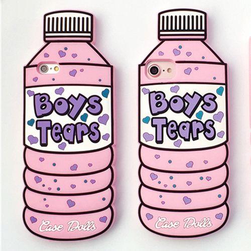 Jungen Tränen Nette Flasche für iPhone X Fall Silikon-rückseitige Gummi für iPhone 5 5 S SE 6 6 S 7 8 Plus 8 Plus iPhoneX Coque