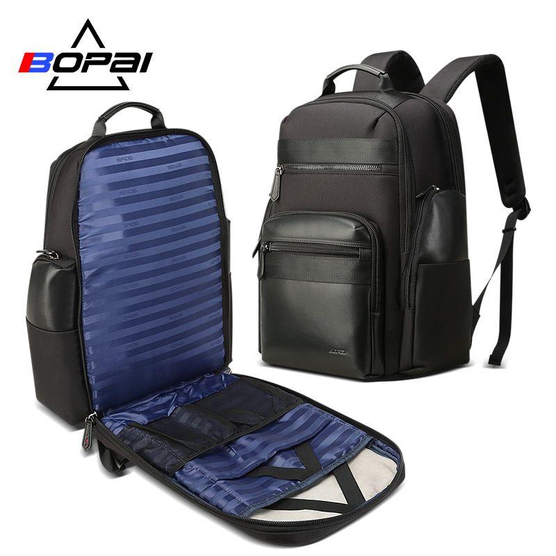 BOPAI Männer Reise Rucksack Große Kapazität Anti-dieb USB Lade 17 zoll Laptop Rucksack Leder Mode Business Rucksack Männer