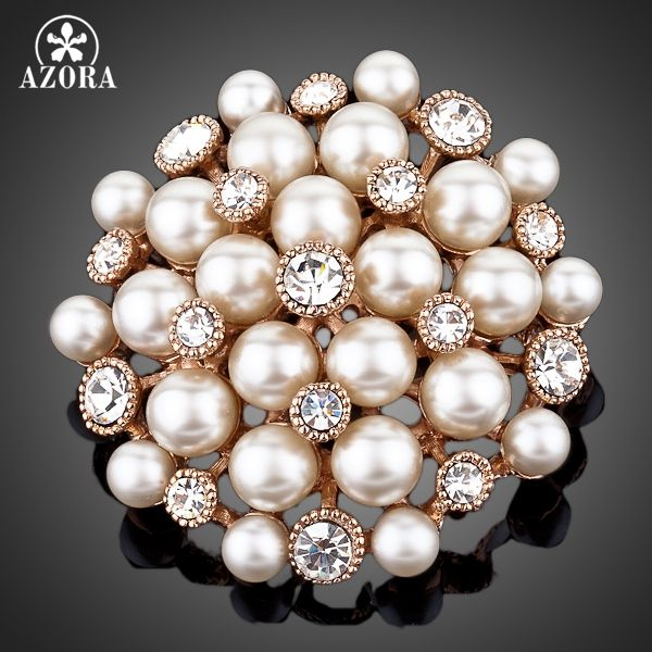AZORA Rose Gold Color Stellux Transparent Austrian Crystal Gold Color Imitation Pearls Flower Brooch TP0001