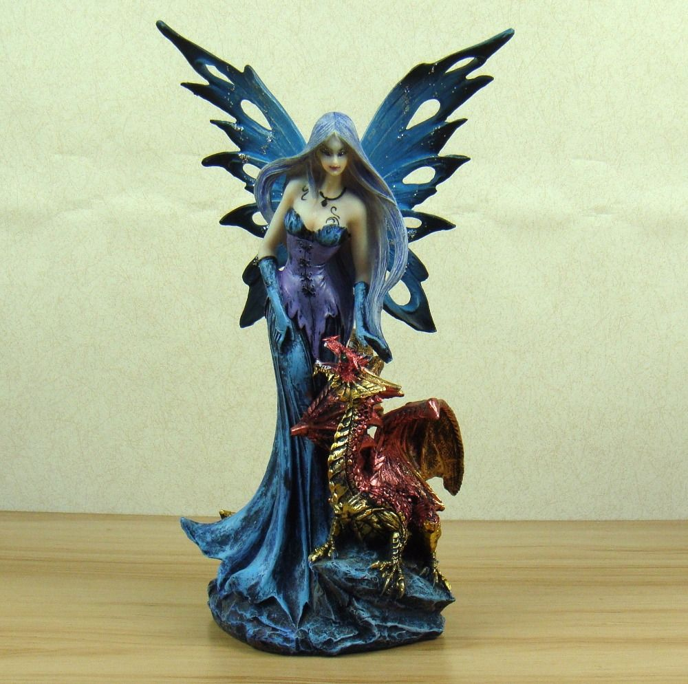 Vivid Succubus and Firedrake Figurine Mythical Resin Fairy and Fiery Fragon Statue Art and Craft Ornament Accessories Furnishing