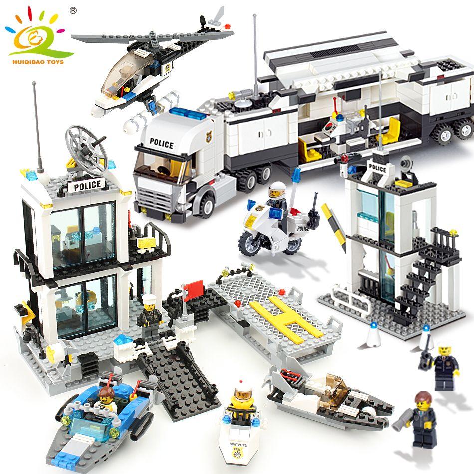 536 pcs Blocs de Construction Police Station Prison Chiffres Compatible Legoing Ville Éclairer Briques Jouets Pour Enfants Camion Hélicoptère