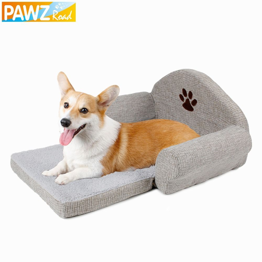 PAWZRoad Dog Bed Pet Soft Kennel Cute Paw Design Pet Sofa Gray Dog Sofa Dog Cat House Winter For Pet Great Quality Hot Sale