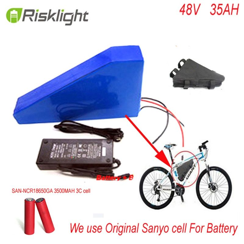 New arriver triangle ebike battery 48V 2000w lithium battery pack 48v 35ah electric bike battery +bag+charger For Sanyo CELL