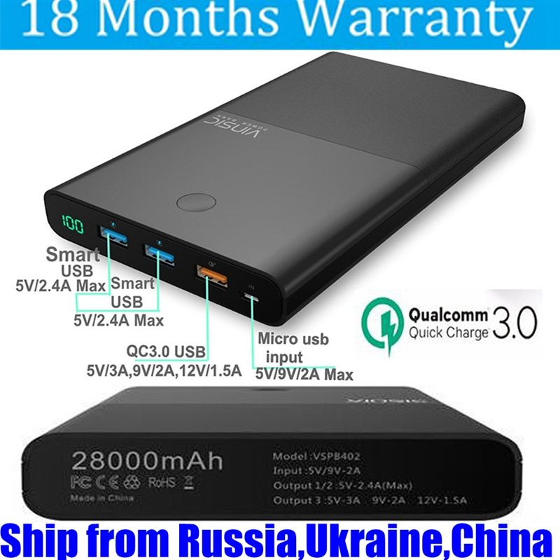 Vinsic 28000mah Power Bank QC 3.0 18650 12V Fast Charge for Xiaomi Mi5 Samsung S8 S7 iPhone Nexus 5X 6P LG G5 Battery Portable