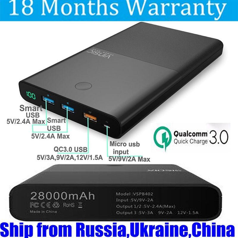 Vinsic 28000mah Power Bank QC 3.0 18650 12V Fast Charge for Xiaomi Mi5 Samsung S8 S7 iPhone Nexus 5X 6P LG G5 Battery Portable