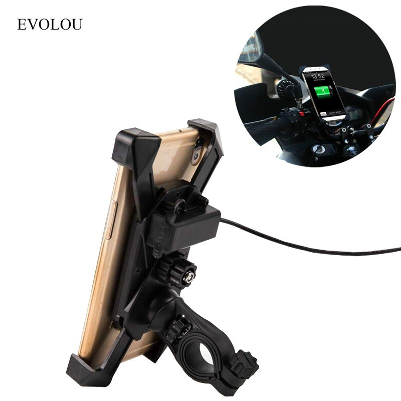 Moto universelle Support de Téléphone Portable Support Pour Moto Support Chargeur USB pour iphone X 8 7 Plus S8 S9 s7 Support Vélo
