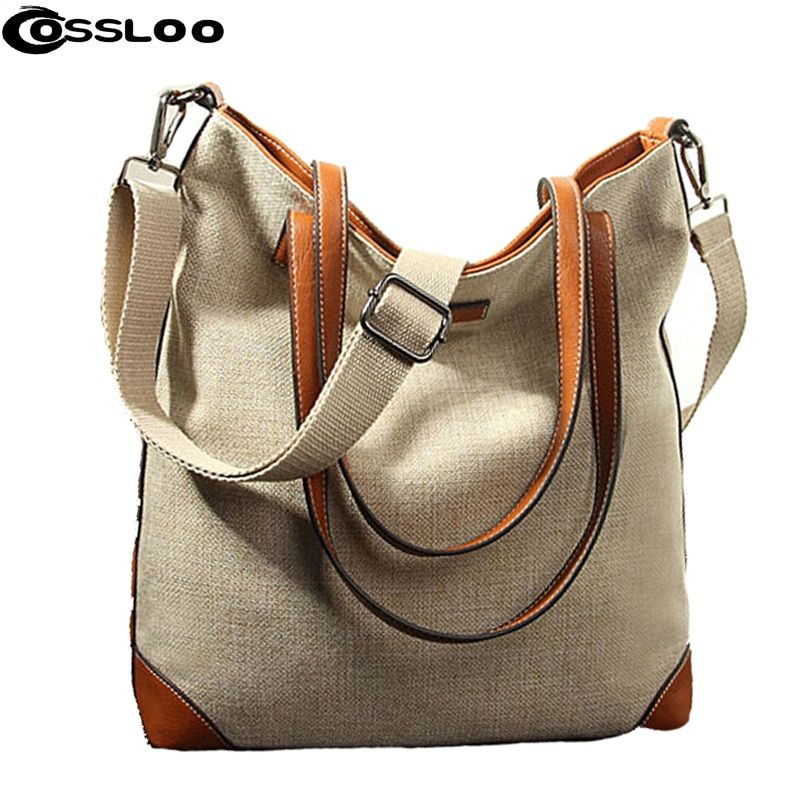COSSLOO Fashion Women Linen Handbag Large Shopping Tote Holiday Big Basket Bags Summer Beach Bag Woven Beach Shoulder Bags