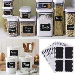 36 unids/set Pizarras las etiquetas del organizador del tarro de la cocina del arte Tizas tablero Adhesivos botella negro DIY stiky Adhesivos