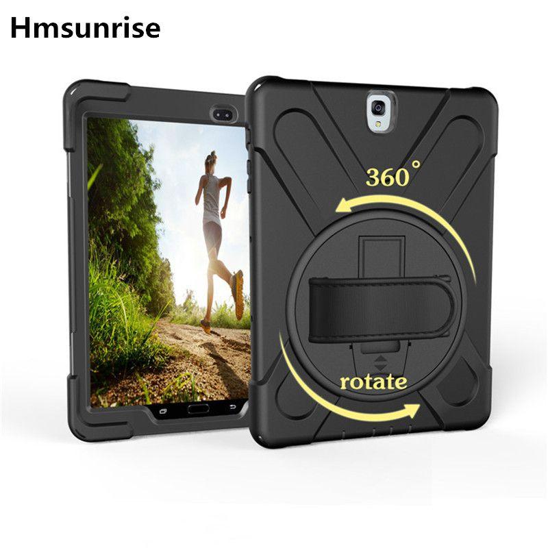 360 rotatif pour Samsung Galaxy Tab S3 étui T820 T825 funda enfants sûr Silicone dur étui pour tablette 9.7 SM-T820 SM-T825 dragonne