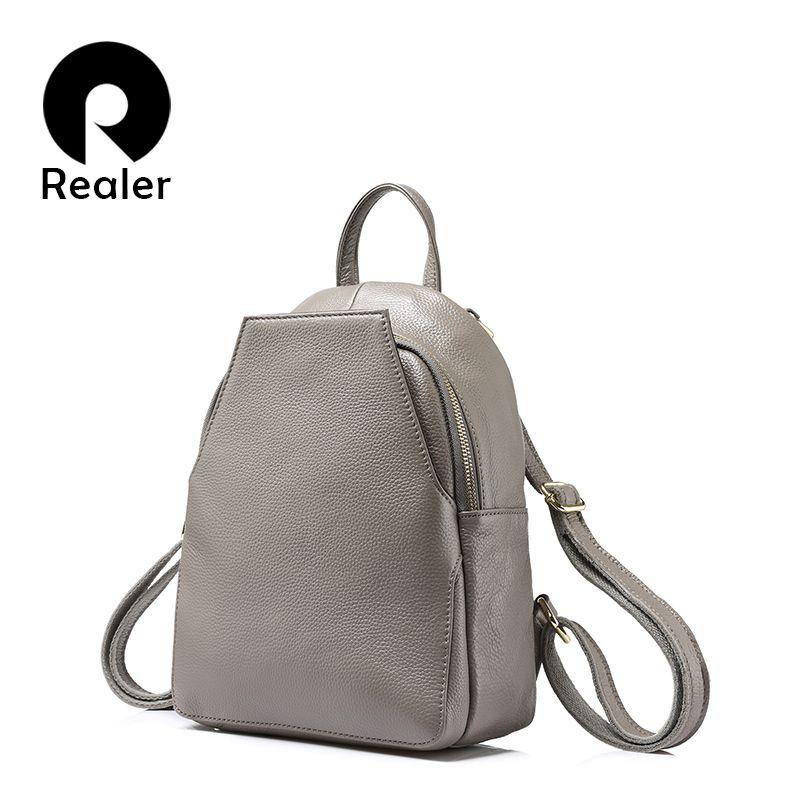 REALER fashion women backpack female <font><b>genuine</b></font> leather backpacks for girls teenagers schoolbag small backpack ladies shoulder bag