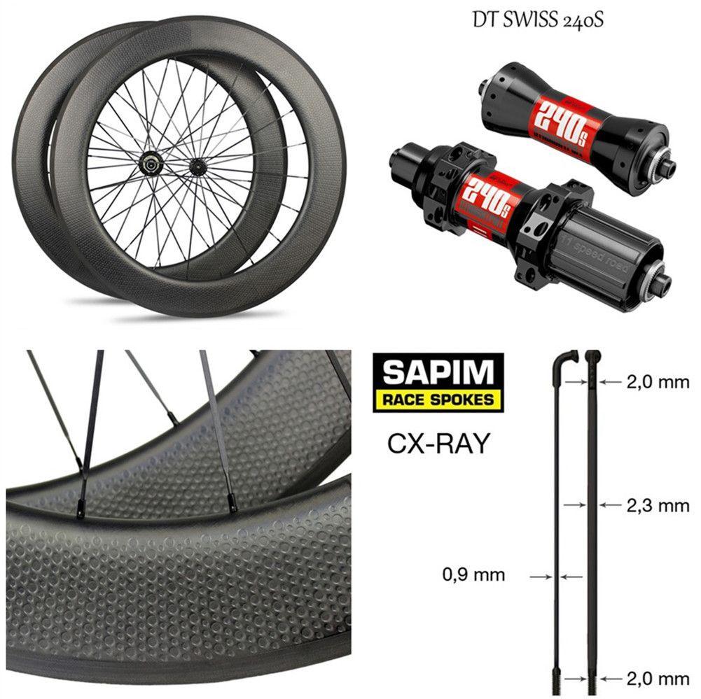 High-End Grübchen Carbon Rad DT240S/DT350S Hub Sapim Cx-ray Speichen 700c Rennrad Laufradsatz 45mm 50mm 58mm 80mm Klammer Tubular