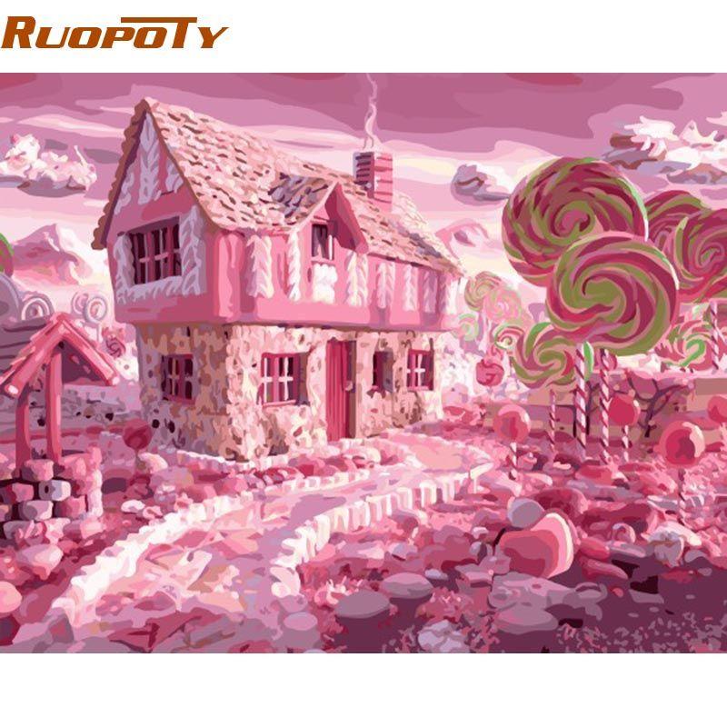 Cadre RUOPOTY rose romantique bonbons peinture à la main par numéro peint à la main mur Art photo cadeau Unique pour décoration de mariage 40x50 cm
