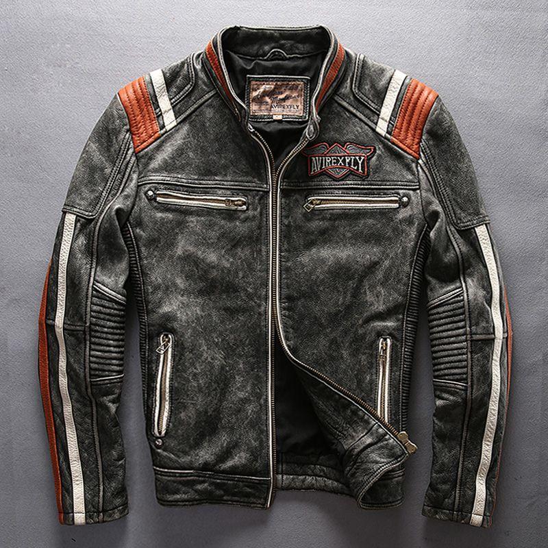 Mans vollrindleder motorrad reiter jacke vintage stehkragen stickerei leder motorradfahrer rindsleder jacke