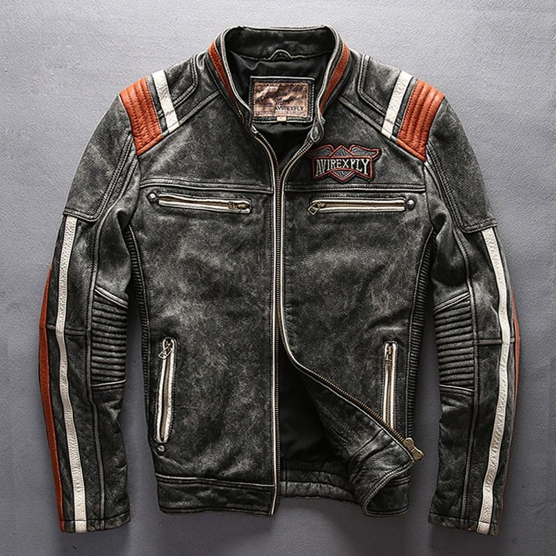 mans genuine cow leather motorcycle rider jacket vintage stand collar embroidery leather motorcycle rider cowhide leather jacket