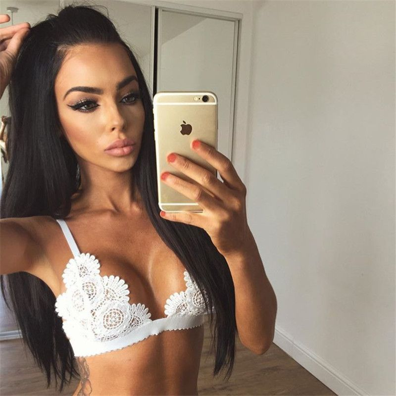 Heyouthoney Fashion Summer Sexy black white v-neck Lace Bralette Camisole Bralet Bustier Spaghetti Strap Camis Cropped Tops