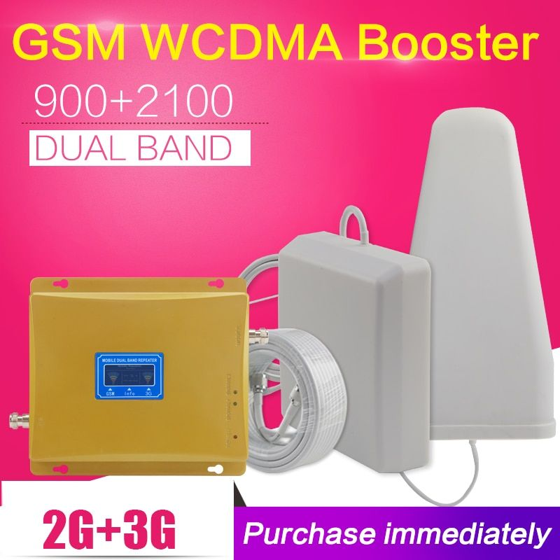 Repeatnet KW20L-GW LCD Display GSM 900mhz WCDMA 2100mhz Dual Band Signal Booster 3G Gsm Repeater 2100 Celular Amplifier Antenna