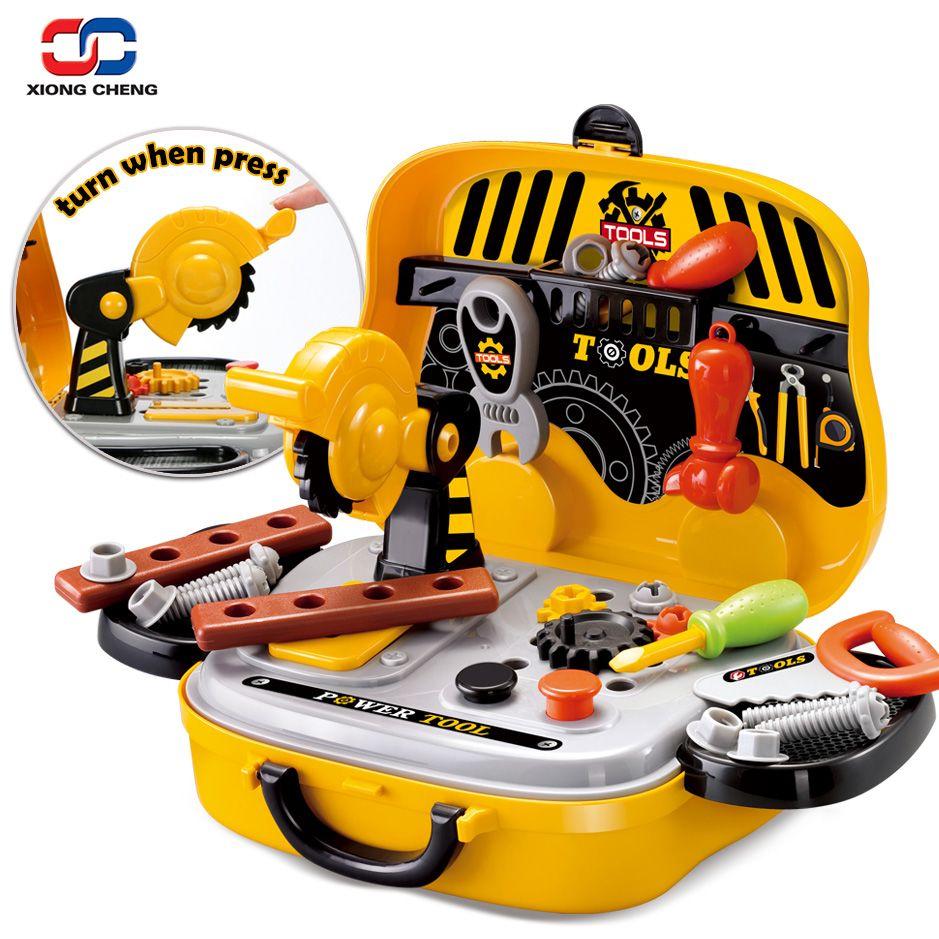 Строительные инструменты игрушка набор для маленьких мальчиков Пластик Бензопилы Шурупы Молотки Ролевые игры дети чемодан сад столярные К...