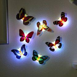 Светодиодный ночник, лампа с разноцветными изменяющимися бабочками, крытый свет с Вакуумная присоска, домашний вечерние настольные украше...