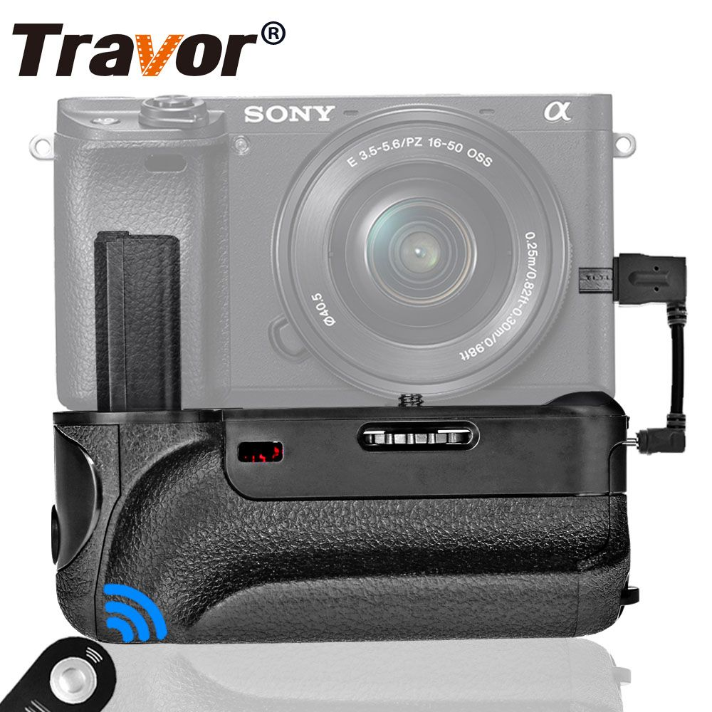 Travor vertical battery grip for Sony A6000 Mirrorless Digital Camera with IR function work with NP-FW50 battery
