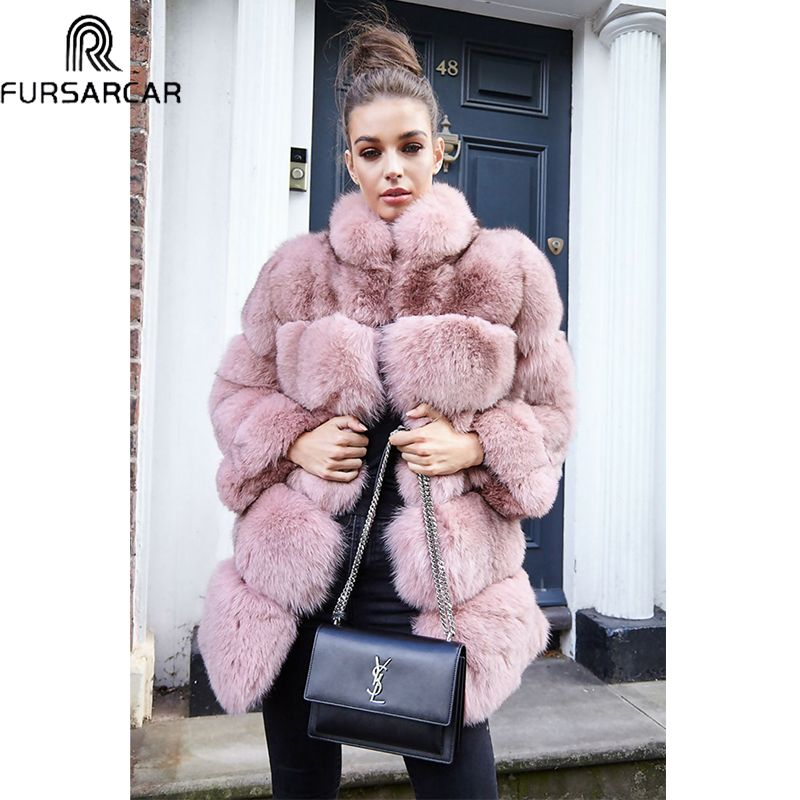 FURSARCAR Plus Size 2018 Women's Winter Down Fur Luxurious Real Fox Fur Jacket Thick Natural Fox Fur Coat With Fur Collar