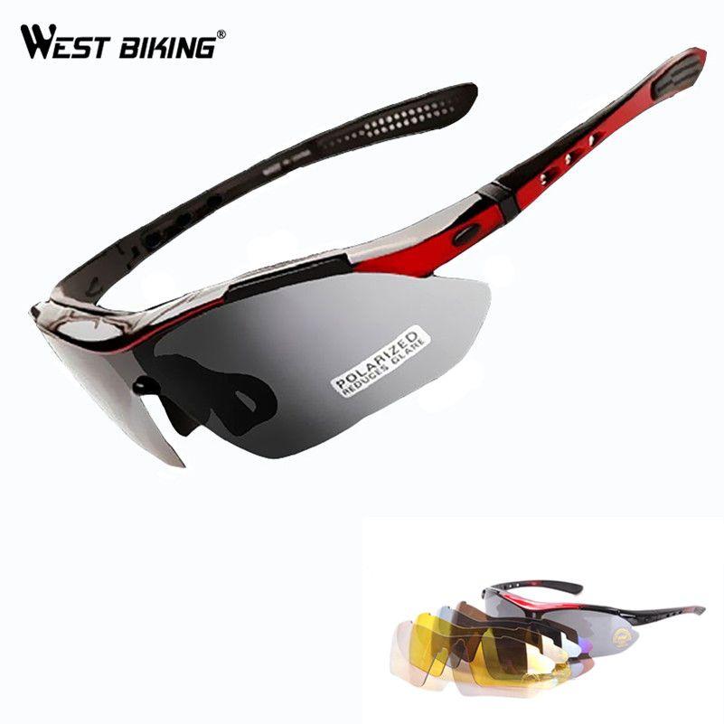 Запад biking Велоспорт Очки пять Оптические стёкла Солнцезащитные очки для женщин Для мужчин Для женщин Спорт Поляризованные гоночный велоси...