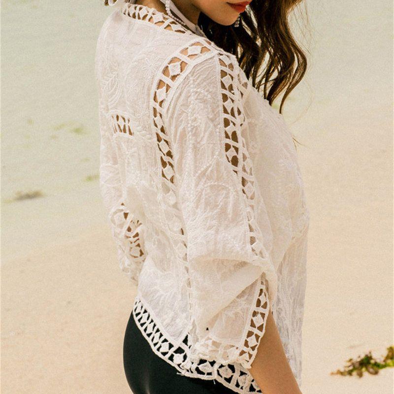 Drop <font><b>ship</b></font> Beach Cover Ups Solid Bikini Cover Up Swimwear Women Beach Suit Cover Ups Knitted Design Hollow Out Beachwear