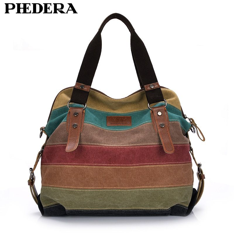 Fashion Canvas Bag Brand Women Handbag Patchwork Casual Women Shoulder Bags Female Messenger Bag <font><b>Ladies</b></font> 2018 Rainbow Purse Pouch
