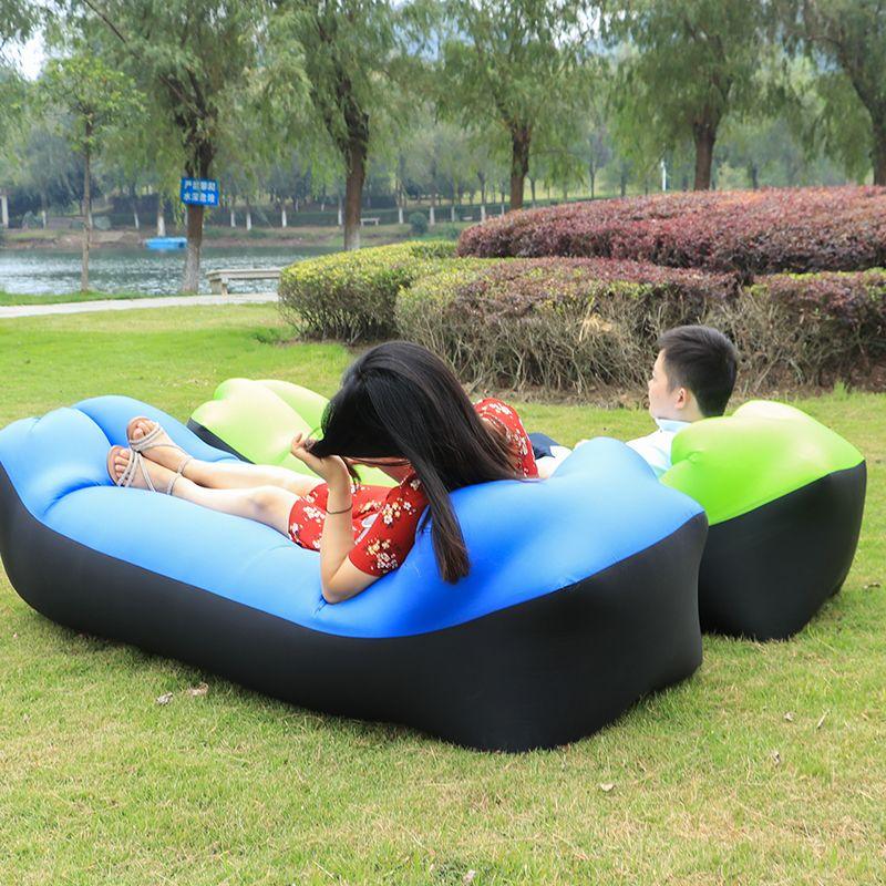 Schnell Aufblasbare Laybag Air Schlafsack Camping Tragbare Luft Sofa Strand Luftbett Hängematte Nylon Faul Tasche Liege