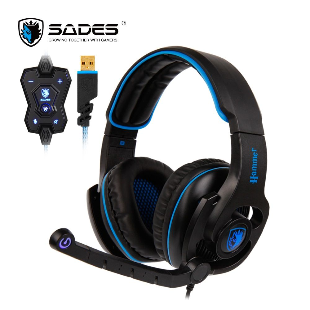 SADES HAMMER Gaming Headset USB Headphones Virtual 7.1 Surround <font><b>Sound</b></font> Rotatable Microphone In-line Controller