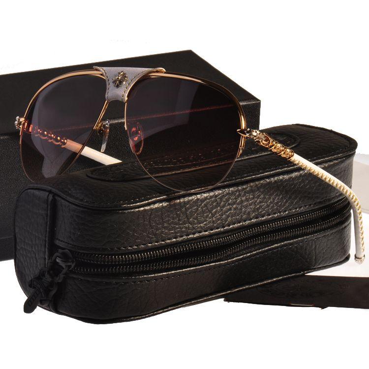 Beliebte logo aviator stil sonnenbrille, männlichen und weiblichen universal kröte sonnenbrille, klassische leder und leder bein sonnenbrille