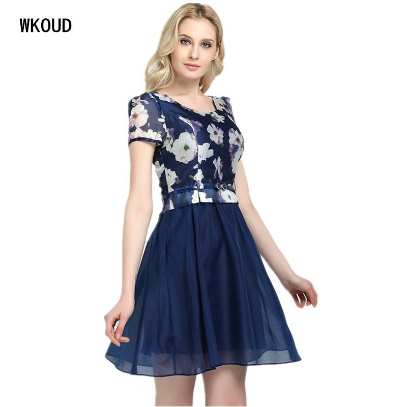 Wkoud vestidos de fiesta gasa Verano 2017 mujeres dos capas bola medio-largo Vestidos con cinturón caliente vestido femenino k8001