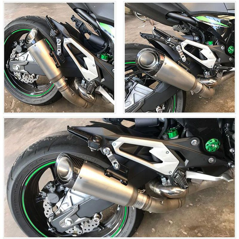 TKOSM Motorcycle Exhaust Pipe 51mm 60 mm Inlet Tube SC Exhaust Pipe Stainless Steel with Laser Logo for S1000 for Kawasaki Z1000