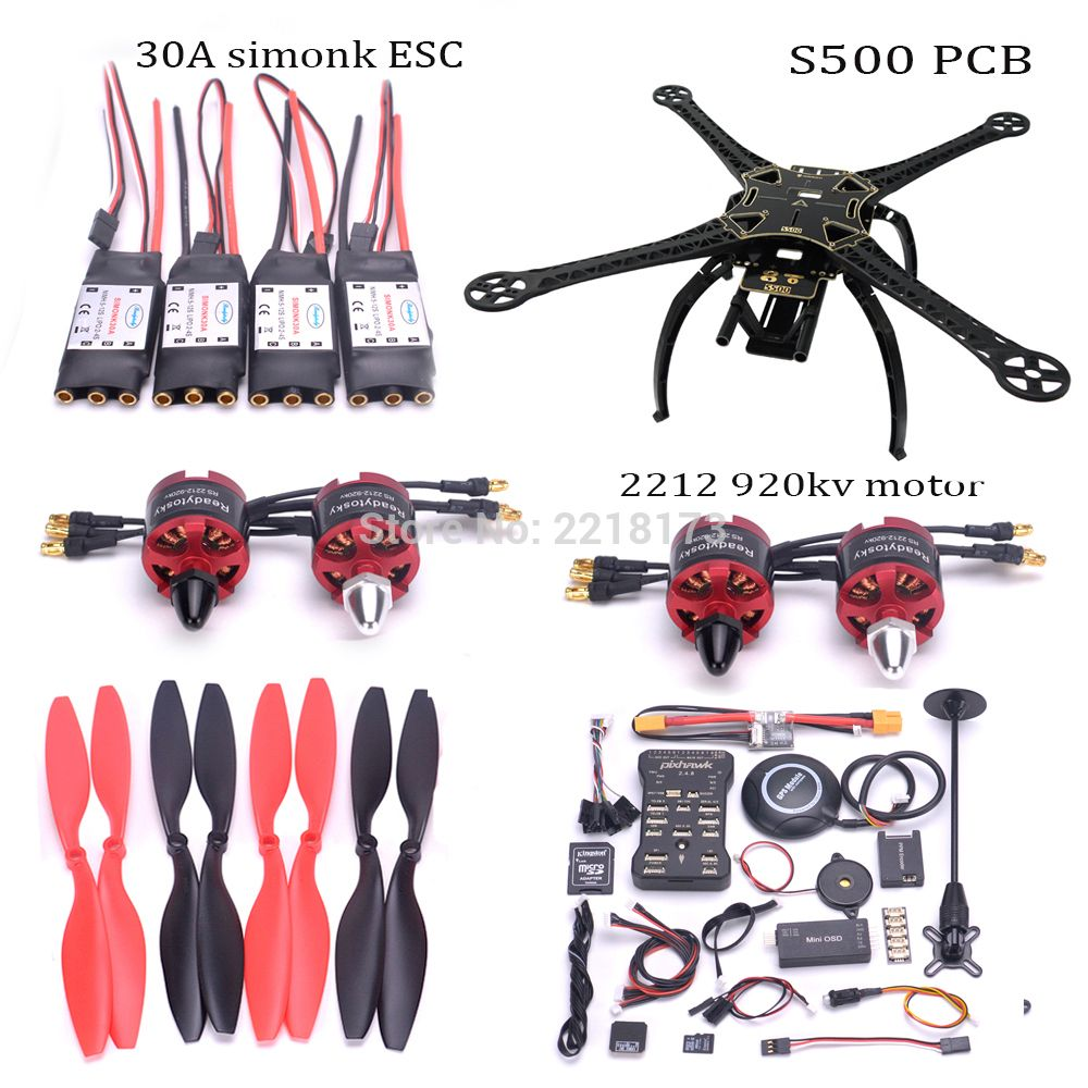 F450 / S500 / X500 500mm Quadcopter frame kit Pixhawk 2.4.8 32 Bit Flight Controller M8N PM 2212 920kv motor 30A simonk ESC