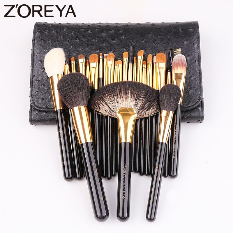 Zoreya Brand 24Pcs Goat Hair Nylon Blending Lip Makeup Brushes Professional Powder Foundation Eye Shadow Large Fan Brush Set