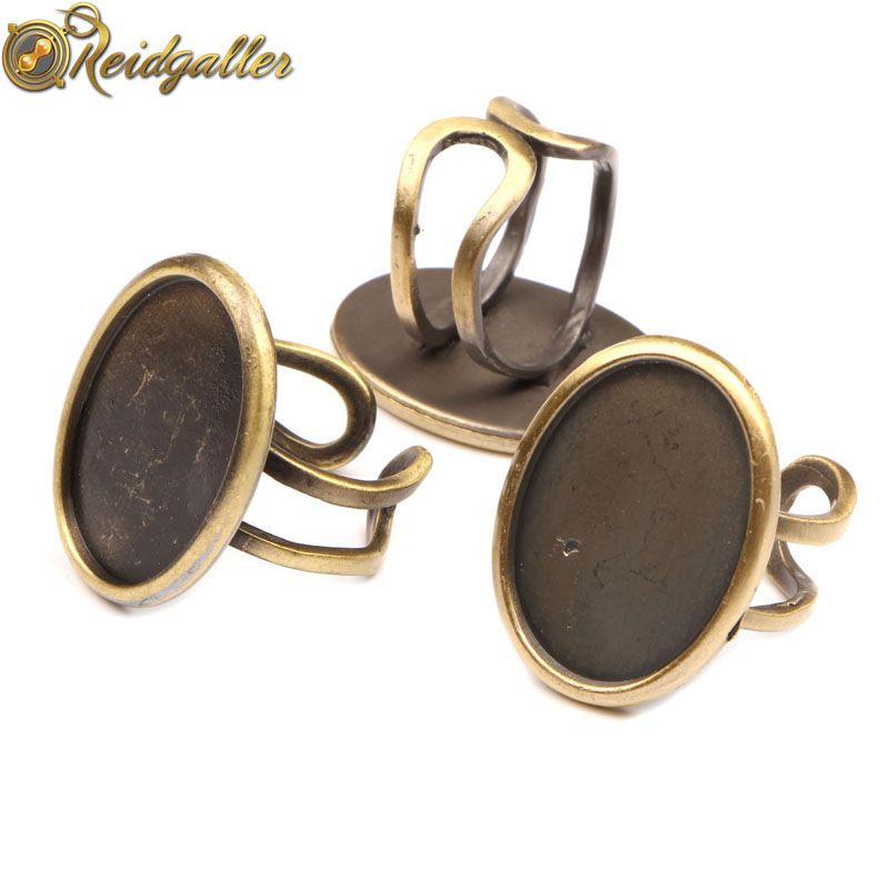 5 pièces Vintage Bronze Cabochon anneau réglage ovale 18*25mm taille intérieure Cabochons Base blancs bricolage anneaux faisant des résultats