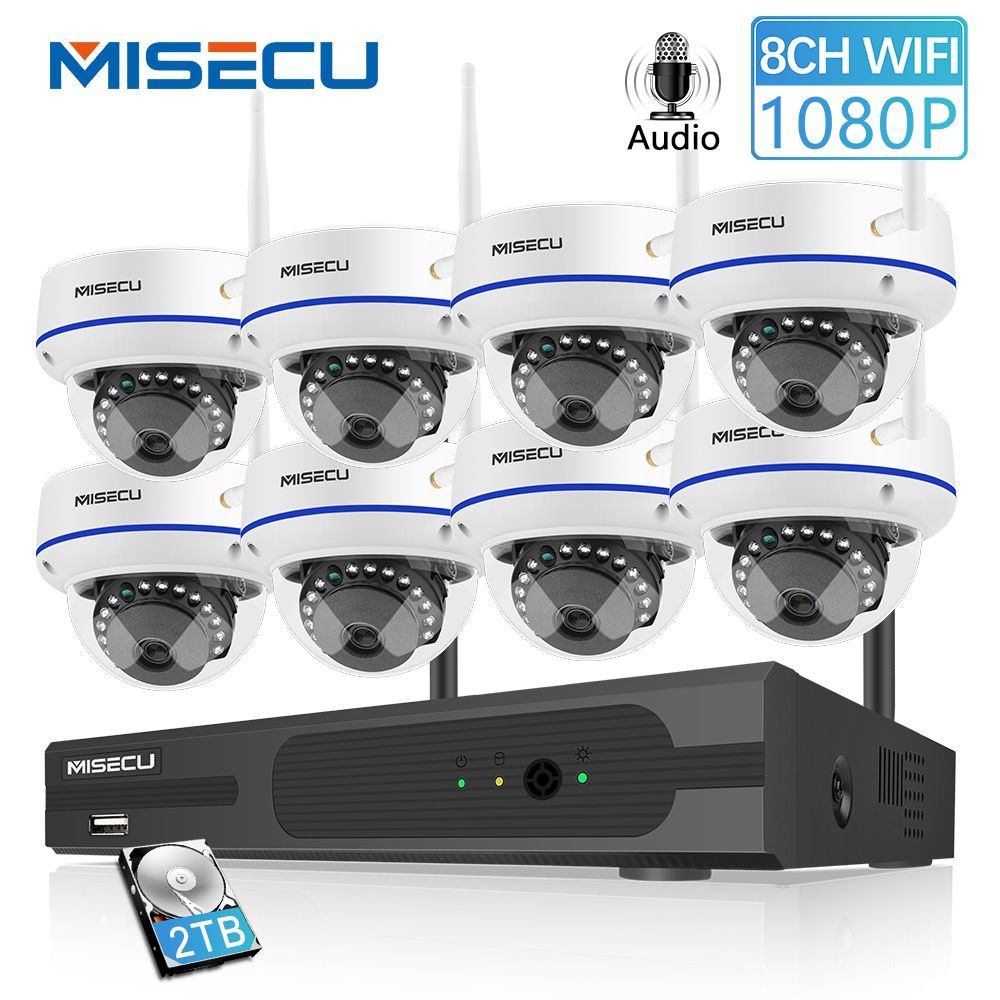 MISECU 8CH 1080P HD Wireless NVR System Mit 2.0MP Indoor Vandalproof Wifi Kamera Audio Record IR Nachtsicht Überwachung kit