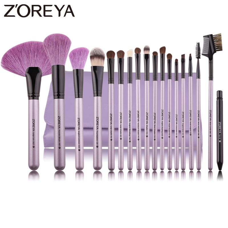 ZOREYA Brand 18Pcs Natural Makeup Brush For Make Up Soft Bristles Powder Foundation Fan Cosmetic Brushes Set Eye Lip Makeup Tool