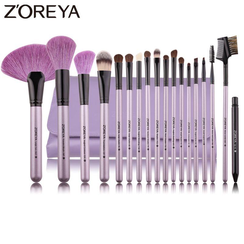 ZOREYA Marke 18 stücke Natürliche Make-Up Pinsel Für Make-Up Weichen Borsten Pulver Foundation Fan Kosmetik Pinsel Set Eye Lip make-up-Tool