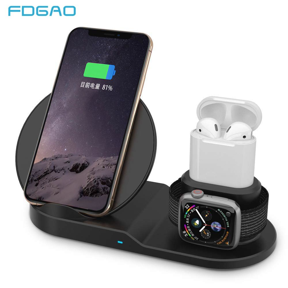 FDGAO Qi Sans Fil Chargeur Charge Rapide pour iPhone 8 X XS Max XR Apple Montre 4 3 2 Airpods 10 W charge rapide Pour Samsung S9 S8 S7