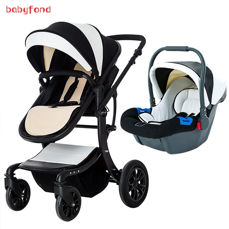 3-in-1 baby stroller with comfortable car seat can be lying dual-use baby carriage European high landscape folding child trolley